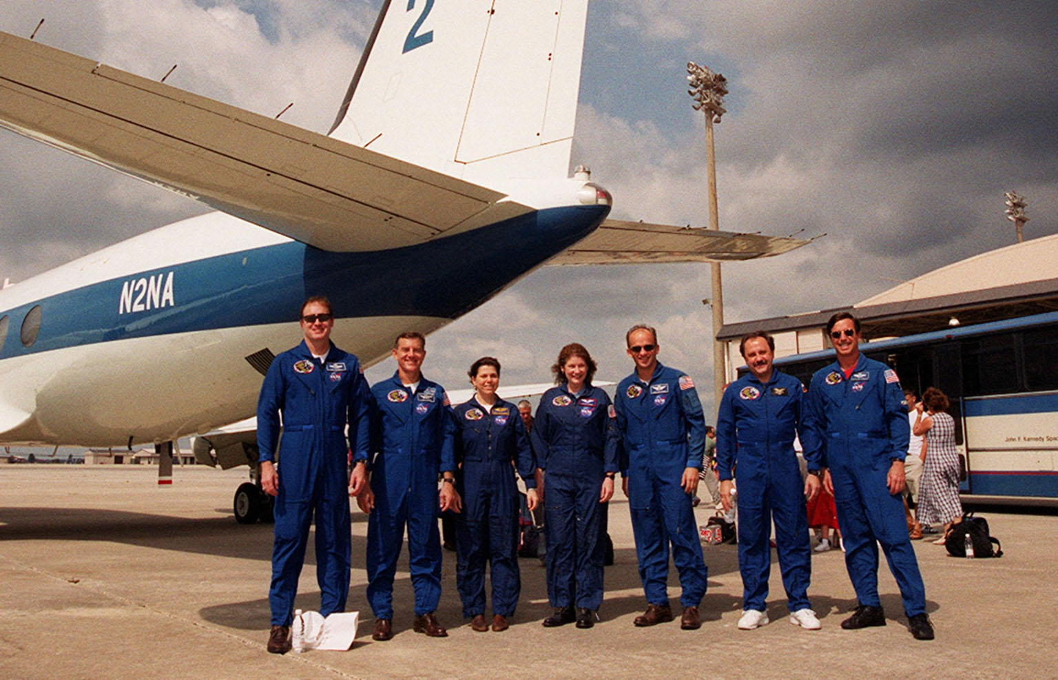 The STS-101 crew pose one more time before departing for Houston from Patrick Air Force Base. From left are Commander James D. Halsell Jr., Mission Specialists James S. Voss, Mary Ellen Weber, Susan J. Helms, Jeffrey N. Williams, Yury Usachev of Russia, and Pilot Scott ?Doc? Horowitz. After landing at 2:20 a.m. EDT May 29, the crew and their families enjoyed the Memorial Day holiday in Florida. The crew returned from the third flight to the International Space Station where they made repairs, transferred cargo and completed a space walk to install and connect several pieces of equipment on the outside of the Space Station