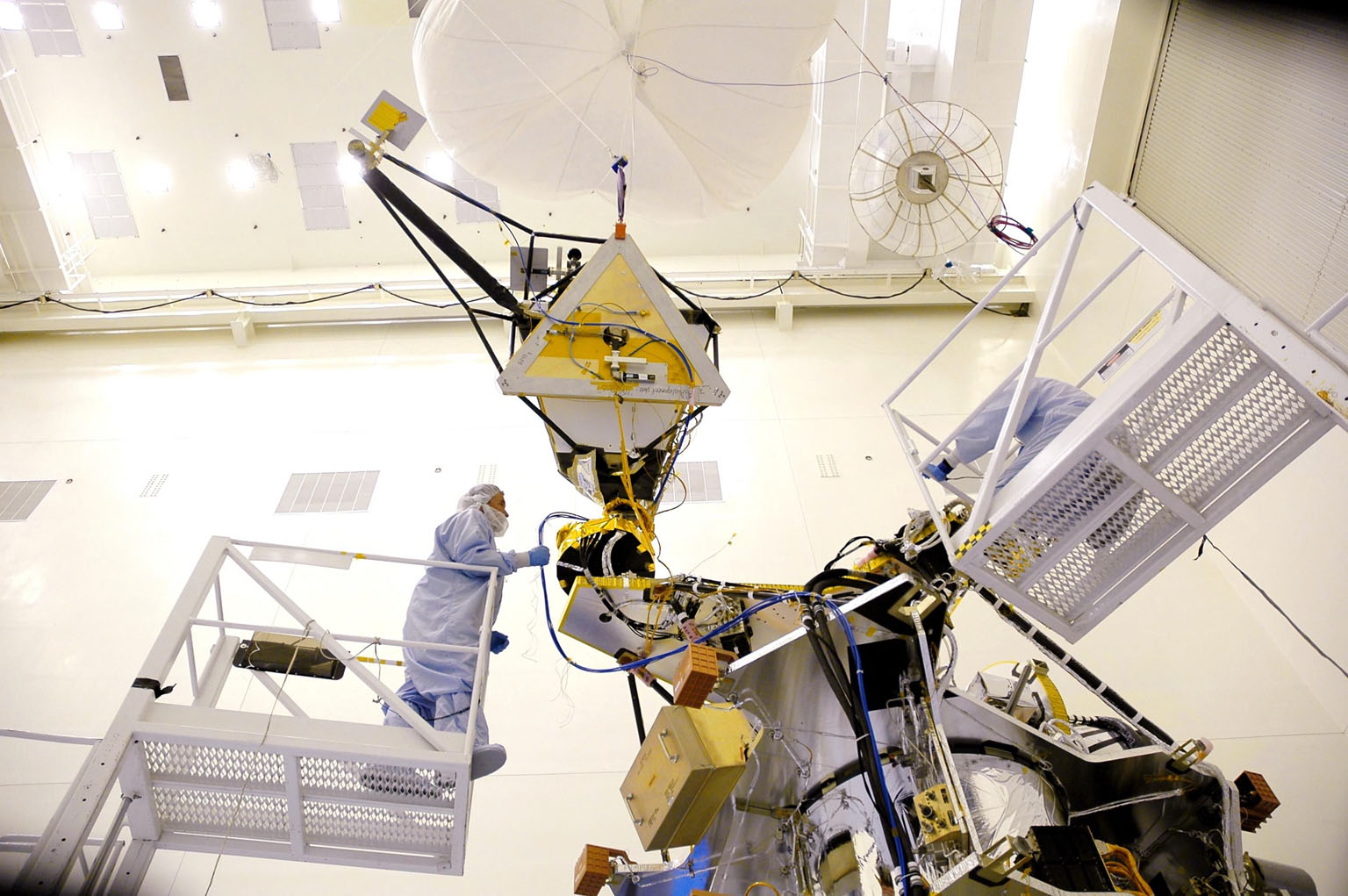 KENNEDY SPACE CENTER, FLA. - In the Payload Hazardous Servicing Facility, workers from Lockheed Martin prepare to conduct a gimbal full range of motion test on the Mars Reconnaissance Orbiter (MRO) high-gain antenna. The MRO was built by Lockheed Martin for JPL. It is the next major step in Mars exploration and scheduled for launch from Cape Canaveral Air Force Station in a window opening Aug. 10. The MRO is an important next step in fulfilling NASA?s vision of space exploration and ultimately sending human explorers to Mars and beyond.
