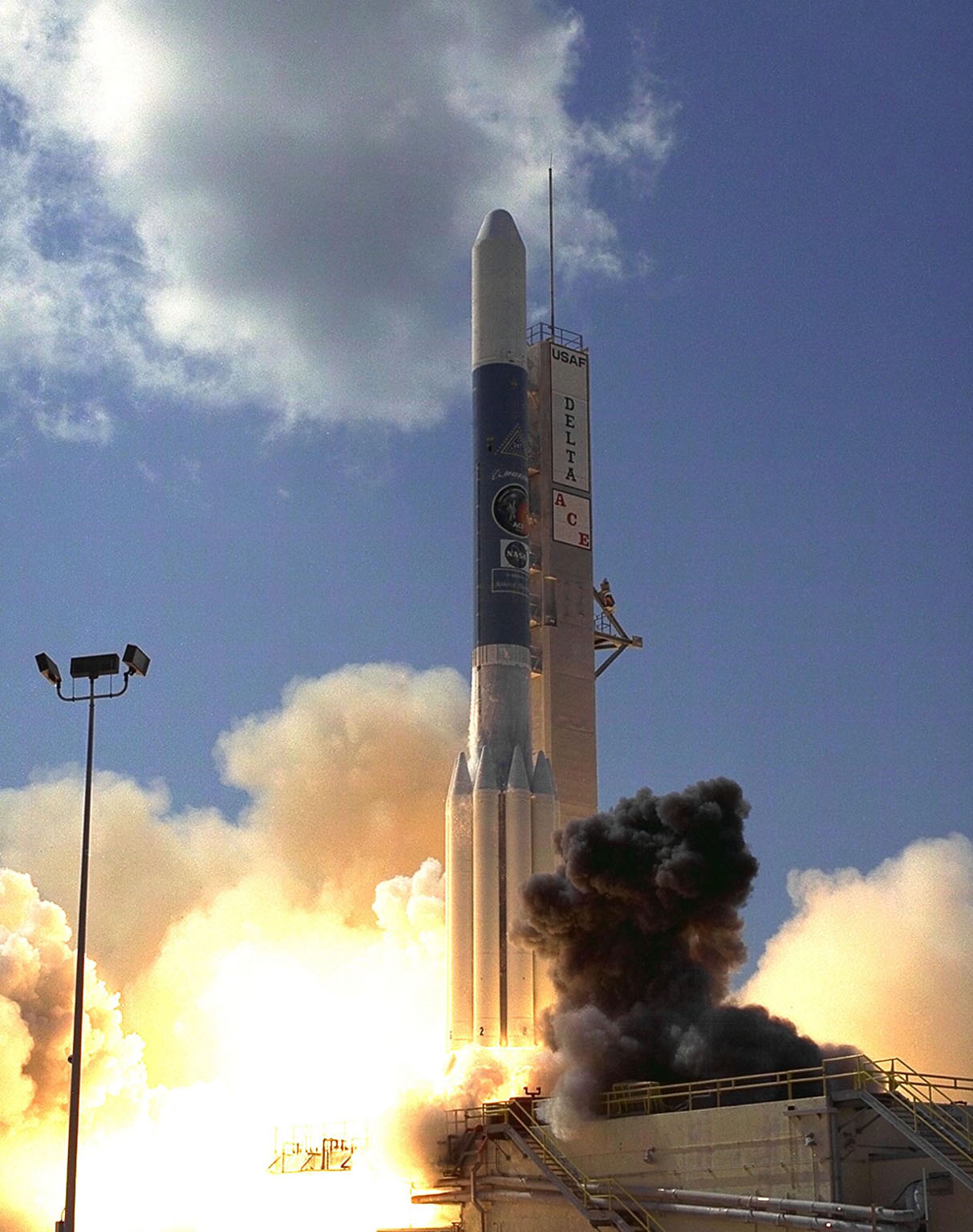 A Boeing Delta II expendable launch vehicle lifts off with NASA?s Advanced Composition Explorer (ACE) observatory at 10:39 a.m. EDT, on Aug. 25, 1997, from Launch Complex 17A, Cape Canaveral Air Station. This is the second Delta launch under the Boeing name and the first from Cape Canaveral. Launch was scrubbed one day by Air Force range safety personnel because two commercial fishing vessels were within the Delta?s launch danger area. The ACE spacecraft will study low-energy particles of solar origin and high-energy galactic particles on its one-million-mile journey. The collecting power of instruments aboard ACE is 10 to 1,000 times greater than anything previously flown to collect similar data by NASA. Study of these energetic particles may contribute to our understanding of the formation and evolution of the solar system. ACE has a two-year minimum mission lifetime and a goal of five years of service. ACE was built for NASA by the Johns Hopkins Applied Physics Laboratory and is managed by the Explorer Project Office at NASA's Goddard Space Flight Center. The lead scientific institution is the California Institute of Technology (Caltech) in Pasadena, Calif