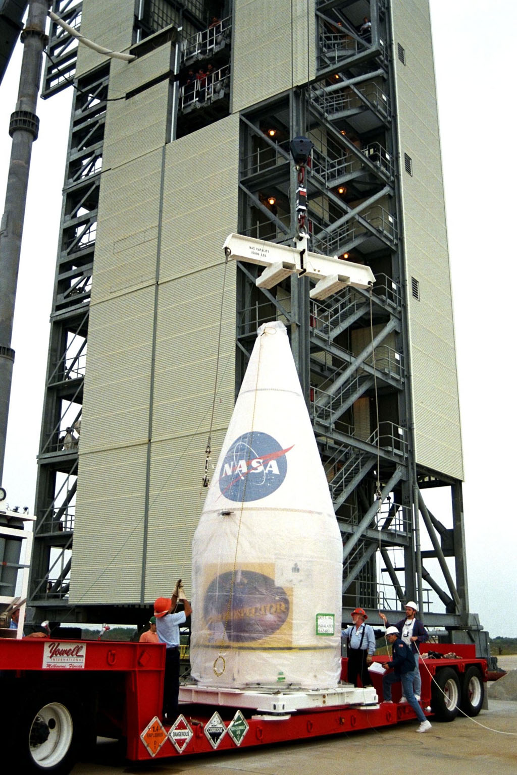 NASA?s Lunar Prospector is prepared for mating to a Lockheed Martin Athena II launch vehicle at Cape Canaveral Air Station?s Launch Complex 46. Lunar Prospector, built for the NASA Ames Research Center by Lockheed Martin, is a spin-stabilized spacecraft designed to provide NASA the first global maps of the Moon?s surface and its gravitational magnetic fields. It will orbit the Moon at an altitude of approximately 63 miles during a one-year mission. The launch of Lunar Prospector is scheduled for Jan. 5, 1998 at 8:31 p.m. EST