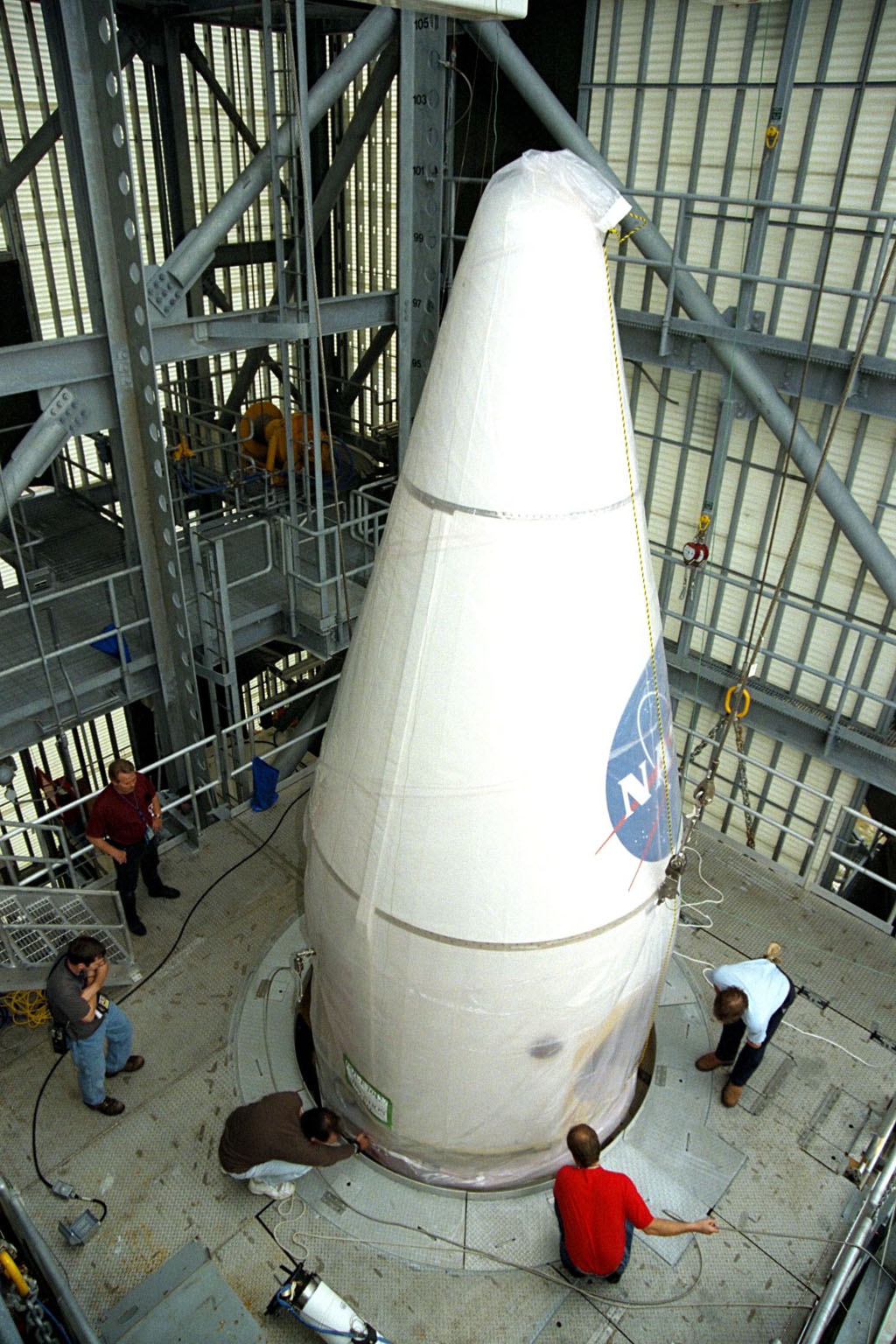 NASA?s Lunar Prospector is mated to a Lockheed Martin Athena II launch vehicle at Cape Canaveral Air Station?s Launch Complex 46. Lunar Prospector, built for the NASA Ames Research Center by Lockheed Martin, is a spin-stabilized spacecraft designed to provide NASA the first global maps of the Moon?s surface and its gravitational magnetic fields. It will orbit the Moon at an altitude of approximately 63 miles during a one-year mission. The launch of Lunar Prospector is scheduled for Jan. 5, 1998 at 8:31 p.m. EST