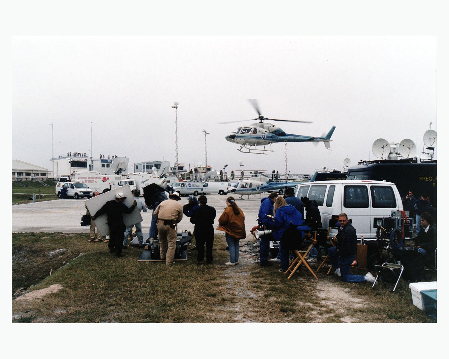 """Warner Bros.' cast and crew are filming scenes for the movie """"Contact"""" at Kennedy Space Center's Launch Complex 39 Press Site on January 30. The screenplay for """"Contact"""" is based on the best-selling novel by the late astronomer Carl Sagan. The cast includes Jodie Foster, Matthew McConaughey, John Hurt, James Woods, Tom Skerritt, David Morse, William Fichtner, Rob Lowe and Angela Bassett. Described by Warner Bros. as a science fiction drama, """"Contact"""" will depict humankind's first encounter with evidence of extraterrestrial life"""