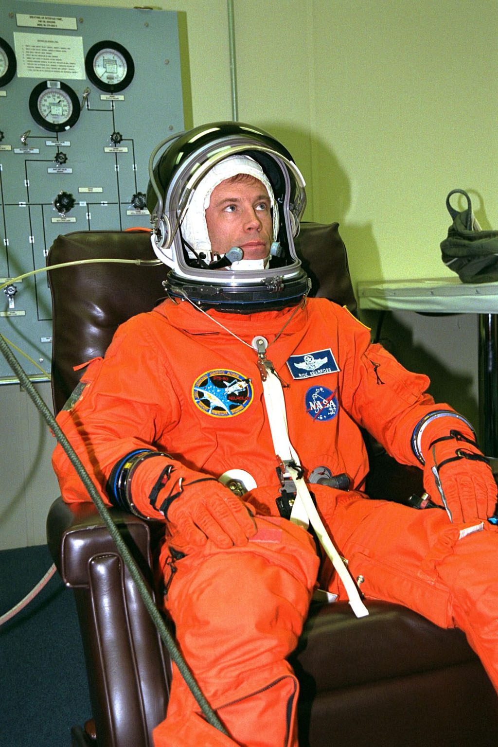 STS-90 Mission Commander Richard Searfoss sits in a chair during suitup activities in the Operations and Checkout Building. Searfoss and the rest of his flight crew will shortly depart for Launch Pad 39B, where the Space Shuttle Columbia awaits a second liftoff attempt at 2:19 p.m. EDT. His third trip into space, Searfoss commands this life sciences research flight that will focus on the most complex and least understood part of the human body the nervous system. Neurolab will examine the effects of spaceflight on the brain, spinal cord, peripheral nerves and sensory organs in the human body