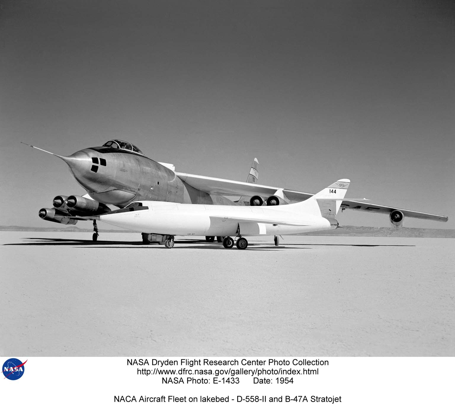 In 1954 this photo of two swept wing airplanes was taken on the ramp of NACA High-Speed Flight Research Station. The Douglas D-558-ll is a research aircraft while the Boeing B-47A Stratojet is a production bomber and very different in size. Both contributed to the studies for swept back wing research.