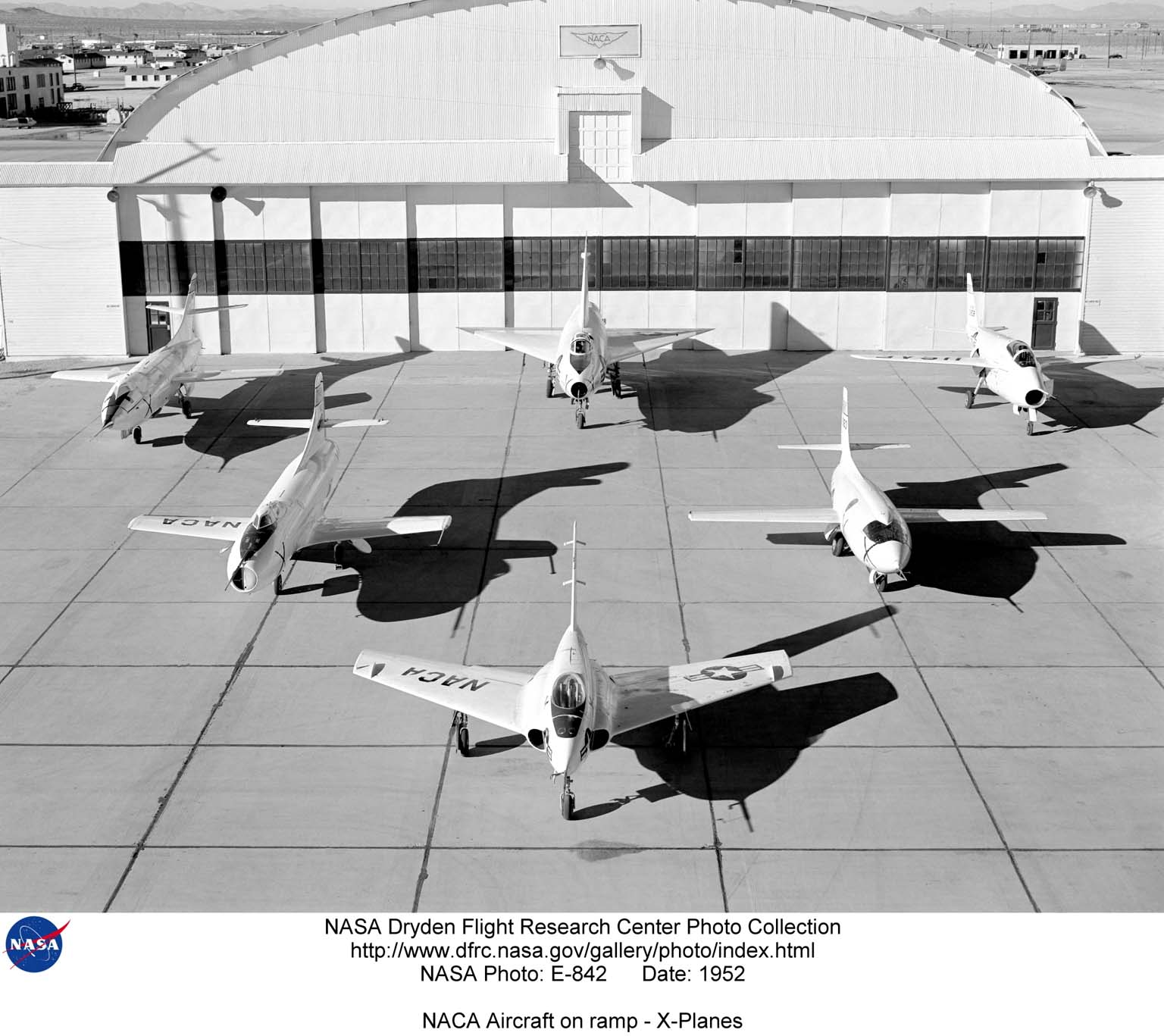 NACA High Speed Flight Station aircraft at South Base. Clockwise from far left: D-558-II, XF-92A, X-5, X-1, X-4, and D-558-I.