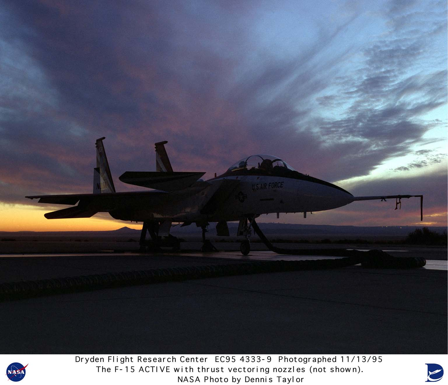 This November 13, 1995, photograph of the F-15 Advanced Controls Technology for Integrated Vehicles (ACTIVE) at NASA's Dryden Flight Research Center, Edwards, California, shows the aircraft on a test stand at sunrise. Not shown in this photograph are the aircraft's two new Pratt & Whitney nozzles that can turn up to 20 degrees in any direction. These nozzles give the aircraft thrust control in the pitch (up and down) and yaw (left and right) directions. This will reduce drag and increase fuel economy or range as compared with conventional aerodynamic controls, which increase the retarding forces (drag) acting upon the aircraft. These tests could result in significant performance increases for military and commercial aircraft. The research program is the product of a collaborative effort by NASA, the Air Force's Wright Laboratory, Pratt & Whitney, and McDonnell Douglas Aerospace. The aircraft was originally built as an F-15B (Serial #71-0290).