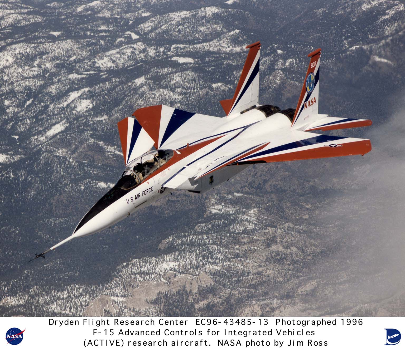 "On Wednesday, April 24, 1996, the F-15 Advanced Control Technology for Integrated Vehicles (ACTIVE) aircraft achieved its first supersonic yaw vectoring flight at Dryden Flight Research Center, Edwards, California. ACTIVE is a joint NASA, U.S. Air Force, McDonnell Douglas Aerospace (MDA) and Pratt & Whitney (P & W) program. The team will assess performance and technology benefits during flight test operations. Current plans call for approximately 60 flights totaling 100 hours. ""Reaching this milestone is very rewarding. We hope to set some more records before we're through,"" stated Roger W. Bursey, P & W's pitch-yaw balance beam nozzle (PYBBN) program manager. A pair of P & W PYBBNs vectored (horizontally side-to-side, pitch is up and down) the thrust for the MDA manufactured F-15 research aircraft. Power to reach supersonic speeds was provided by two high-performance F100-PW-229 engines that were modified with the multi-directional thrust vectoring nozzles. The new concept should lead to significant increases in performance of both civil and military aircraft flying at subsonic and supersonic speeds."