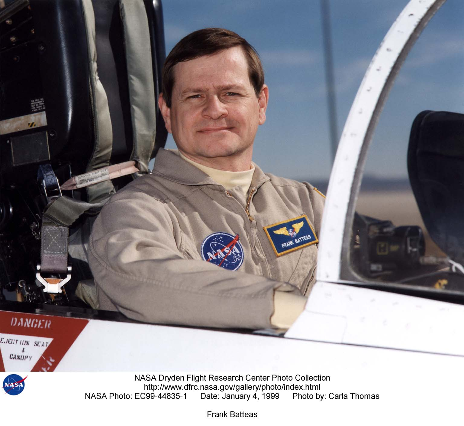 Frank Batteas is a research test pilot in the Flight Crew Branch of NASA's Dryden Flight Research Center, Edwards, California. He is currently a project pilot for the F/A-18 and C-17 flight research projects. In addition, his flying duties include operation of the DC-8 Flying Laboratory in the Airborne Science program, and piloting the B-52B launch aircraft, the King Air, and the T-34C support aircraft. Batteas has accumulated more than 4,700 hours of military and civilian flight experience in more than 40 different aircraft types. Batteas came to NASA Dryden in April 1998, following a career in the U.S. Air Force. His last assignment was at Wright-Patterson Air Force Base, Dayton, Ohio, where Lieutenant Colonel Batteas led the B-2 Systems Test and Evaluation efforts for a two-year period. Batteas graduated from Class 88A of the Air Force Test Pilot School, Edwards Air Force Base, California, in December 1988. He served more than five years as a test pilot for the Air Force's newest airlifter, the C-17, involved in nearly every phase of testing from flutter and high angle-of-attack tests to airdrop and air refueling envelope expansion. In the process, he achieved several C-17 firsts including the first day and night aerial refuelings, the first flight over the North Pole, and a payload-to-altitude world aviation record. As a KC-135 test pilot, he also was involved in aerial refueling certification tests on a number of other Air Force aircraft. Batteas received his commission as a second lieutenant in the U. S. Air Force through the Reserve Officer Training Corps and served initially as an engineer working on the Peacekeeper and Minuteman missile programs at the Ballistic Missile Office, Norton Air Force Base, Calif. After attending pilot training at Williams Air Force Base, Phoenix, Ariz., he flew operational flights in the KC-135 tanker aircraft and then was assigned to research flying at the 4950th Test Wing, Wright-Patterson. He flew extensively modified C-135 an