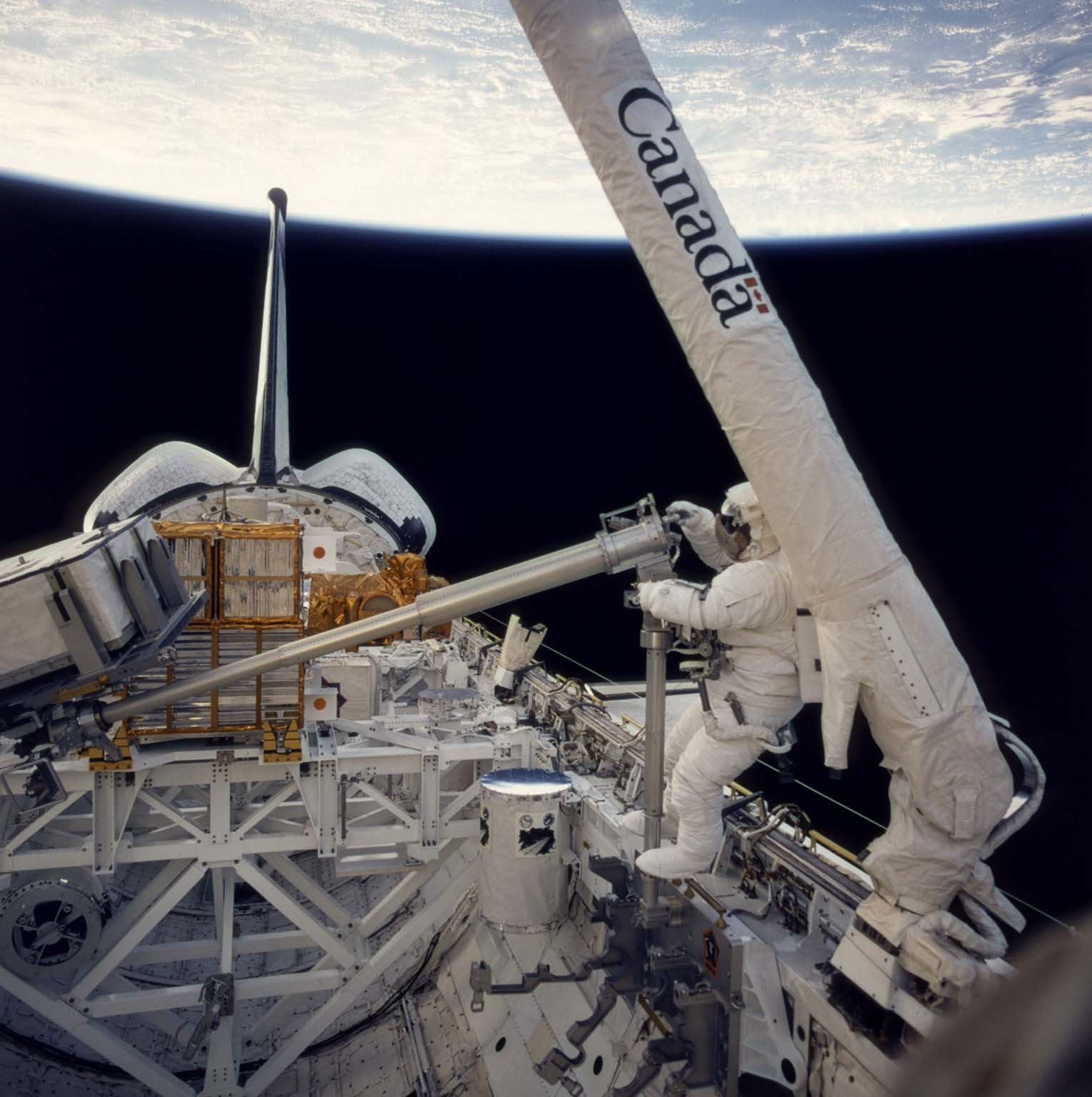Onboard photo: Astronauts at work